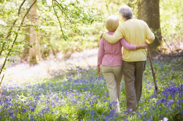 Couple Walking in Meadow