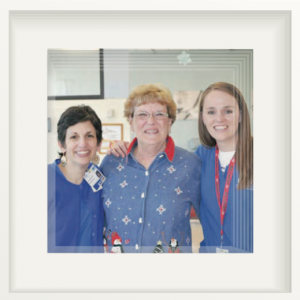 L > R: OHC team members Anita Longsdon, RN; Sally Cutter, OHC patient; and Molly Mendenhall, RN.