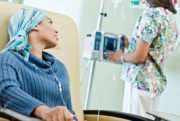 Chemo Patient in Chair with Nurse, Cost of Cancer Care Hospital vs Independent Doctors OHC